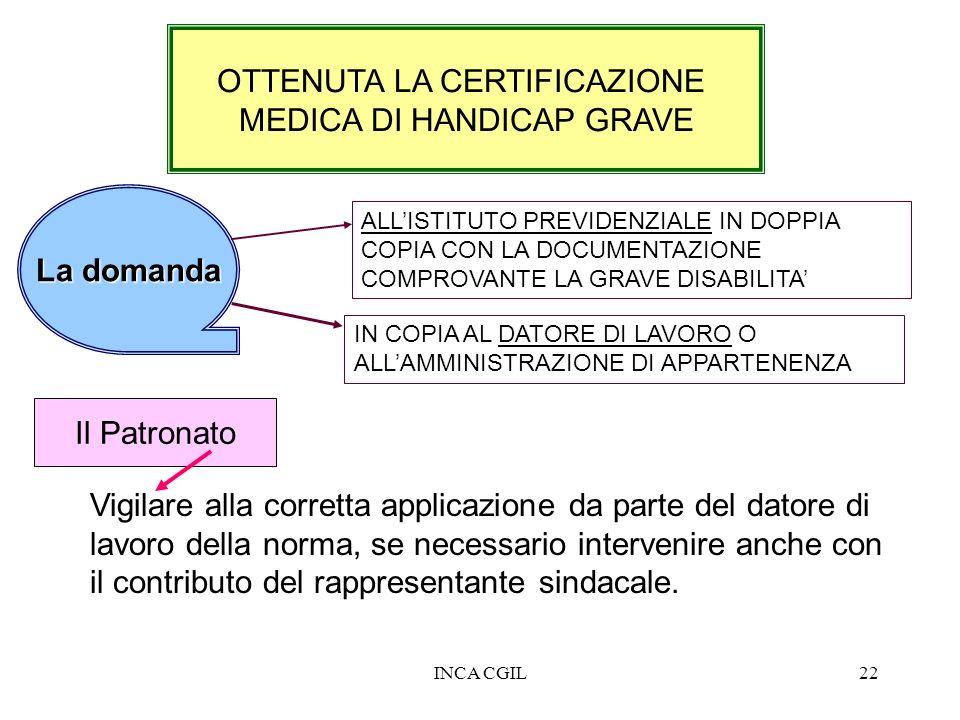 INCA CGIL22 OTTENUTA LA CERTIFICAZIONE MEDICA DI HANDICAP GRAVE Vigilare alla corretta applicazione da parte del datore di lavoro della norma, se nece