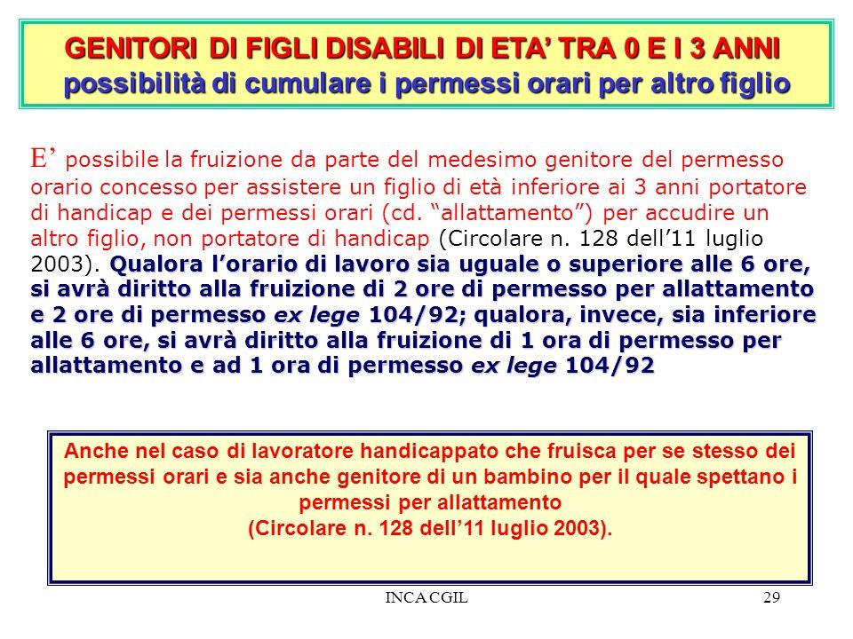 INCA CGIL29 GENITORI DI FIGLI DISABILI DI ETA TRA 0 E I 3 ANNI possibilità di cumulare i permessi orari per altro figlio Qualora lorario di lavoro sia
