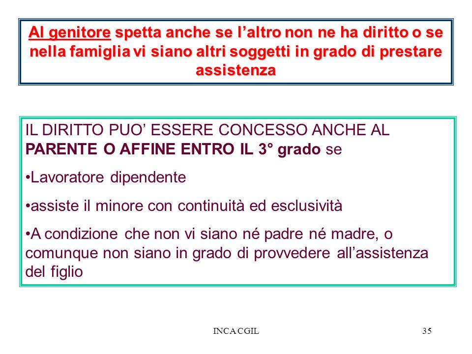 INCA CGIL35 Al genitore spetta anche se laltro non ne ha diritto o se nella famiglia vi siano altri soggetti in grado di prestare assistenza IL DIRITT