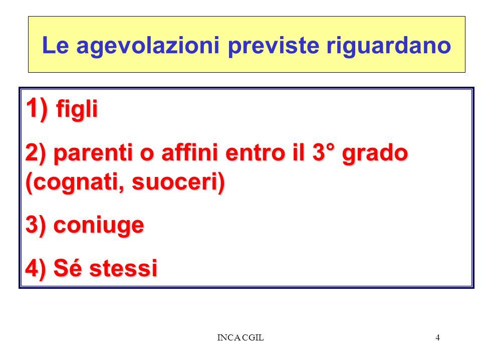 INCA CGIL4 Le agevolazioni previste riguardano 1) figli 2) parenti o affini entro il 3° grado (cognati, suoceri) 3) coniuge 4) Sé stessi