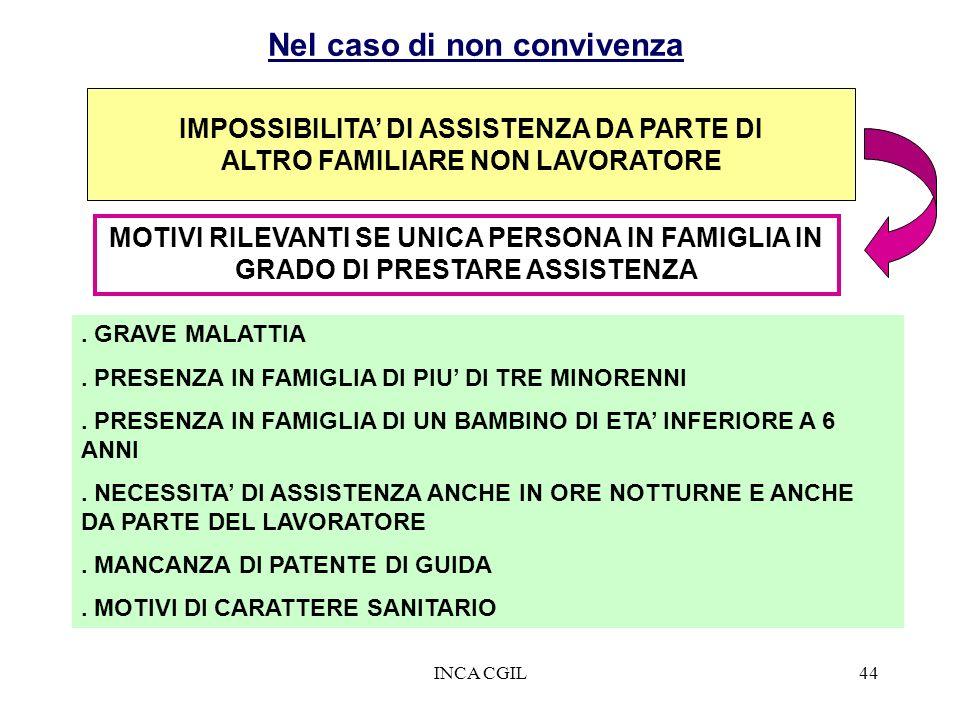 INCA CGIL44 IMPOSSIBILITA DI ASSISTENZA DA PARTE DI ALTRO FAMILIARE NON LAVORATORE. GRAVE MALATTIA. PRESENZA IN FAMIGLIA DI PIU DI TRE MINORENNI. PRES