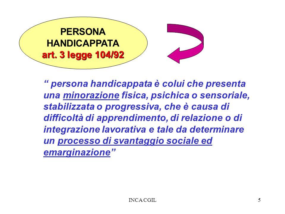 INCA CGIL5 PERSONA HANDICAPPATA art. 3 legge 104/92 persona handicappata è colui che presenta una minorazione fisica, psichica o sensoriale, stabilizz