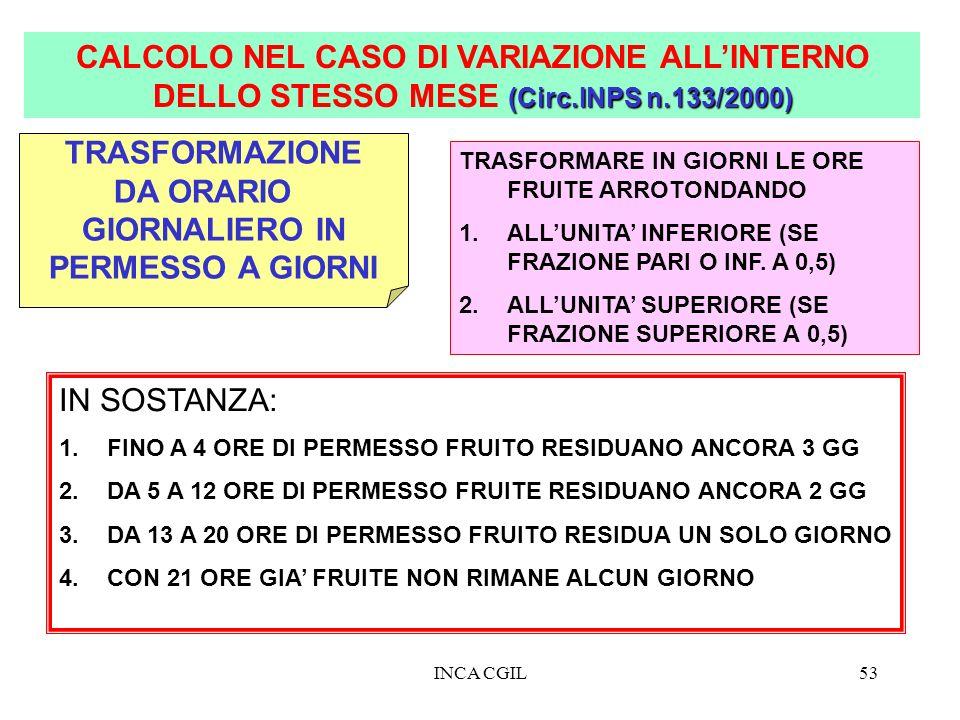 INCA CGIL53 (Circ.INPS n.133/2000) CALCOLO NEL CASO DI VARIAZIONE ALLINTERNO DELLO STESSO MESE (Circ.INPS n.133/2000) TRASFORMAZIONE DA ORARIO GIORNAL