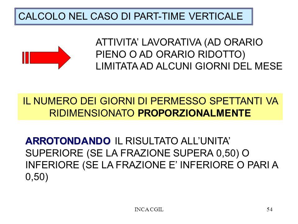 INCA CGIL54 CALCOLO NEL CASO DI PART-TIME VERTICALE ATTIVITA LAVORATIVA (AD ORARIO PIENO O AD ORARIO RIDOTTO) LIMITATA AD ALCUNI GIORNI DEL MESE IL NU