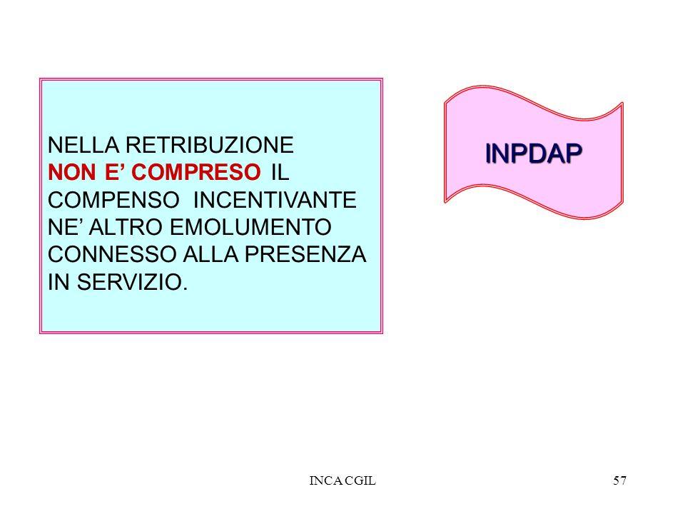 INCA CGIL57 NELLA RETRIBUZIONE NON E COMPRESO IL COMPENSO INCENTIVANTE NE ALTRO EMOLUMENTO CONNESSO ALLA PRESENZA IN SERVIZIO. INPDAP