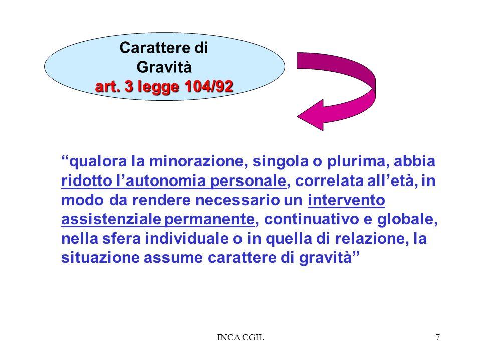 INCA CGIL7 Carattere di Gravità art. 3 legge 104/92 qualora la minorazione, singola o plurima, abbia ridotto lautonomia personale, correlata alletà, i