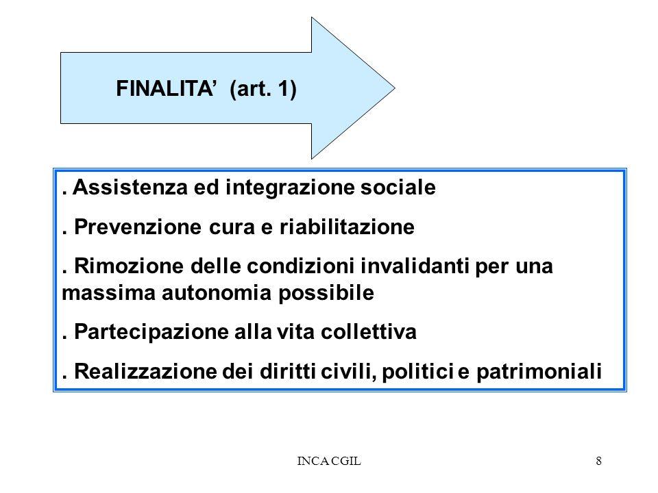 INCA CGIL8 FINALITA (art. 1). Assistenza ed integrazione sociale. Prevenzione cura e riabilitazione. Rimozione delle condizioni invalidanti per una ma