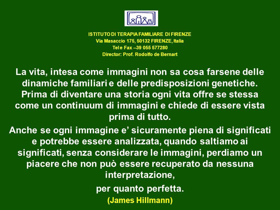 ISTITUTO DI TERAPIA FAMILIARE DI FIRENZE Via Masaccio 175, 50132 FIRENZE, Italia Tel e Fax --39 055 577280 Director: Prof. Rodolfo de Bernart La vita,
