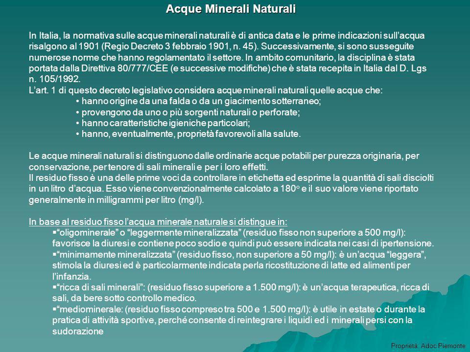 Acqua minerale Acqua minerale Cioccolato Cioccolato Prodotti alimentari particolari : Prodotti alimentari particolari : omogeneizzati omogeneizzati in