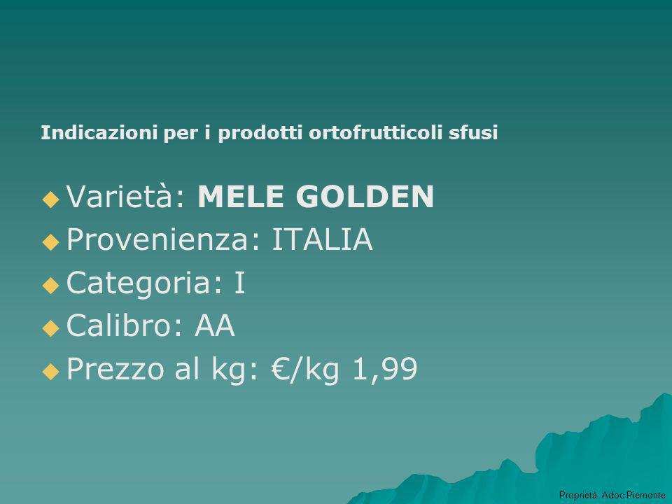 Prodotti Ortofrutticoli Indicazioni per i prodotti ortofrutticoli preconfezionati Ragione sociale delloperatore Ragione sociale del confezionatore (se