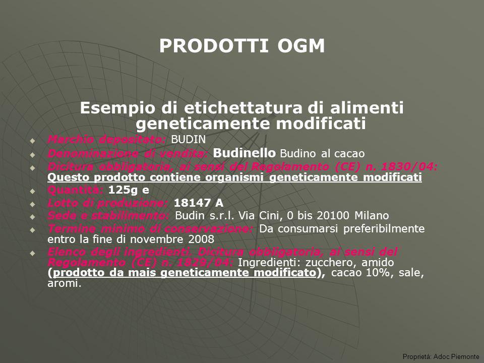 Esempio di etichettatura di prodotto ottenuto da metodo di produzione biologico Denominazione di vendita seguita dallindicazione da agricoltura biolog