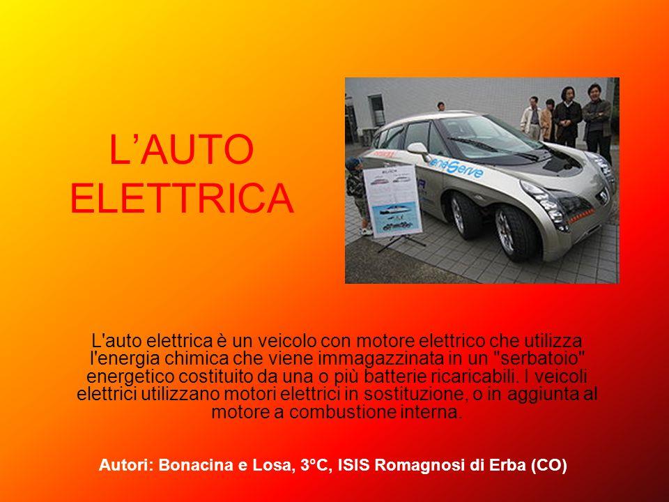 LAUTO ELETTRICA L'auto elettrica è un veicolo con motore elettrico che utilizza l'energia chimica che viene immagazzinata in un