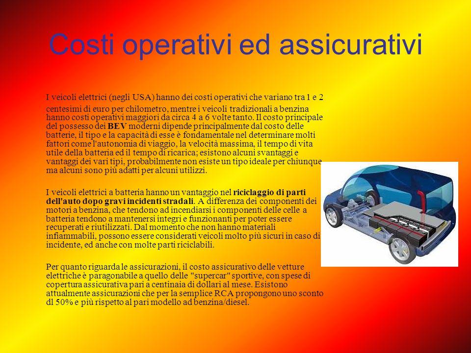 Costi operativi ed assicurativi I veicoli elettrici (negli USA) hanno dei costi operativi che variano tra 1 e 2 centesimi di euro per chilometro, ment