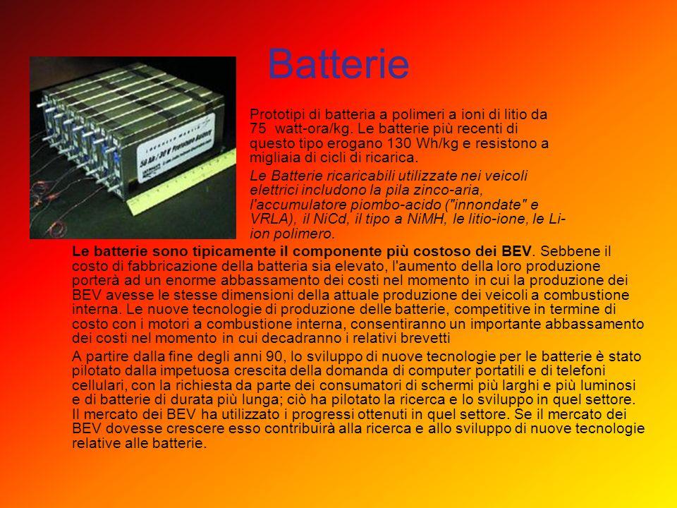 Batterie Prototipi di batteria a polimeri a ioni di litio da 75 watt-ora/kg. Le batterie più recenti di questo tipo erogano 130 Wh/kg e resistono a mi