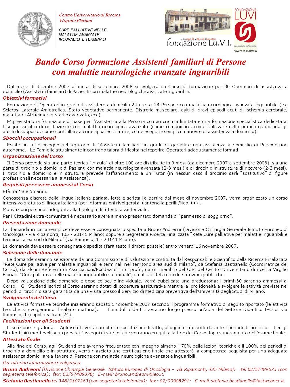 Bando Corso formazione Assistenti familiari di Persone con malattie neurologiche avanzate inguaribili Dal mese di dicembre 2007 al mese di settembre 2