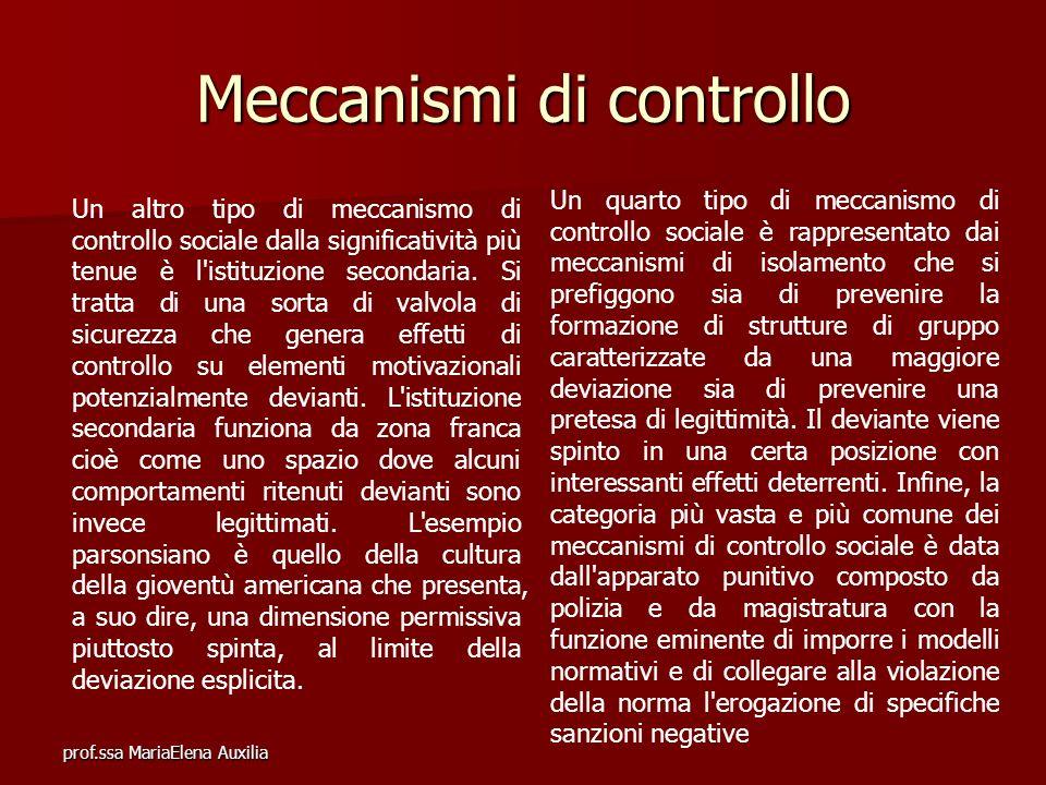 prof.ssa MariaElena Auxilia Meccanismi di controllo Un altro tipo di meccanismo di controllo sociale dalla significatività più tenue è l'istituzione s