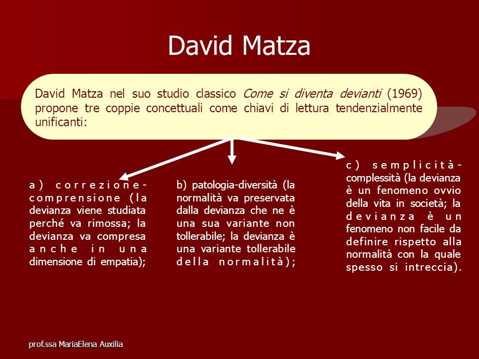 prof.ssa MariaElena Auxilia David Matza David Matza nel suo studio classico Come si diventa devianti (1969) propone tre coppie concettuali come chiavi