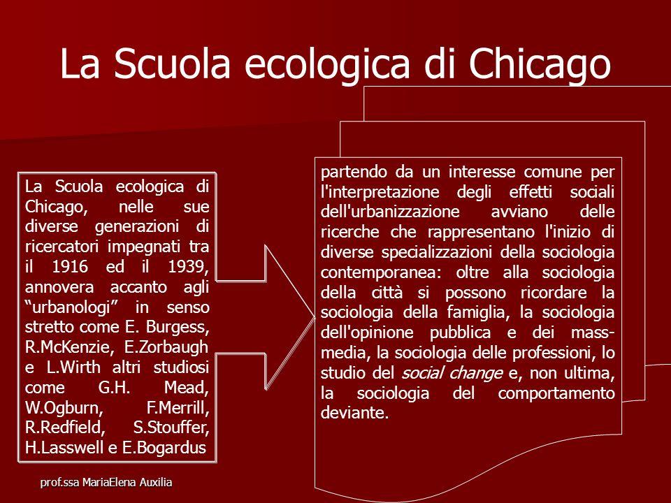 prof.ssa MariaElena Auxilia La Scuola ecologica di Chicago La Scuola ecologica di Chicago, nelle sue diverse generazioni di ricercatori impegnati tra