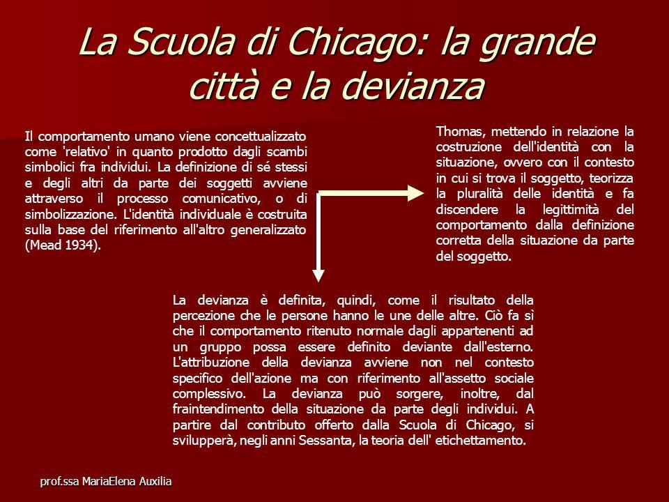 prof.ssa MariaElena Auxilia La Scuola di Chicago: la grande città e la devianza Il comportamento umano viene concettualizzato come 'relativo' in quant