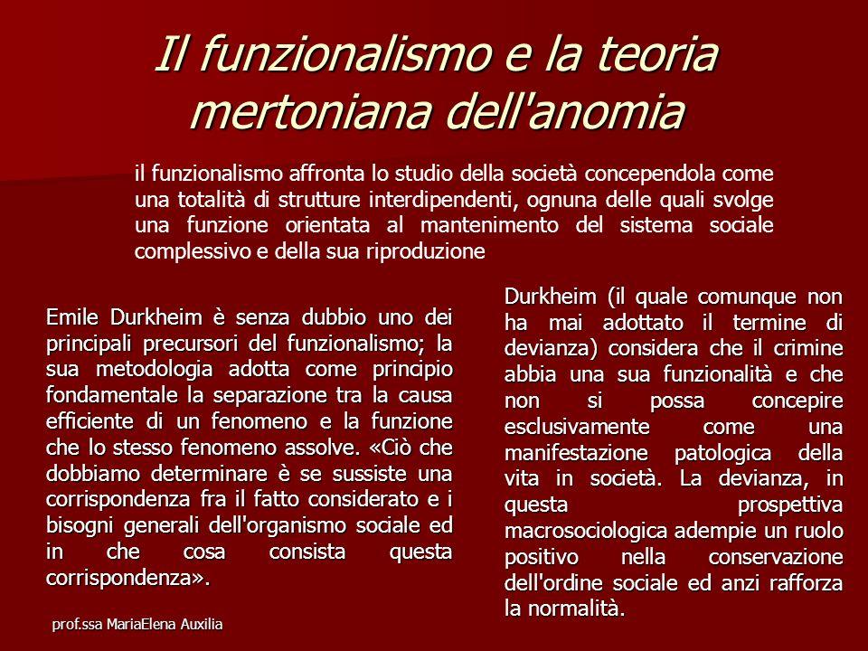 prof.ssa MariaElena Auxilia Il funzionalismo e la teoria mertoniana dell'anomia il funzionalismo affronta lo studio della società concependola come un