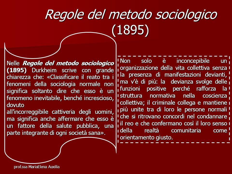 prof.ssa MariaElena Auxilia Regole del metodo sociologico (1895) Nelle Regole del metodo sociologico (1895) Durkheim scrive con grande chiarezza che: