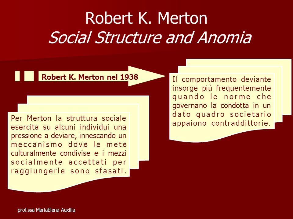 prof.ssa MariaElena Auxilia Robert K. Merton Social Structure and Anomia Il comportamento deviante insorge più frequentemente quando le norme che gove