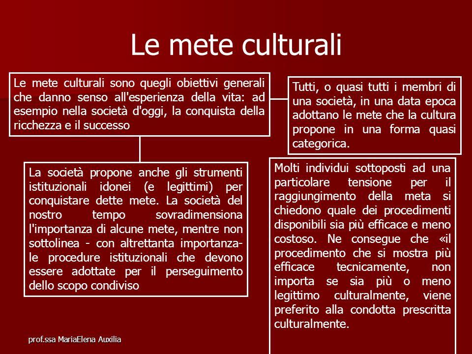 prof.ssa MariaElena Auxilia Le mete culturali Le mete culturali sono quegli obiettivi generali che danno senso all'esperienza della vita: ad esempio n