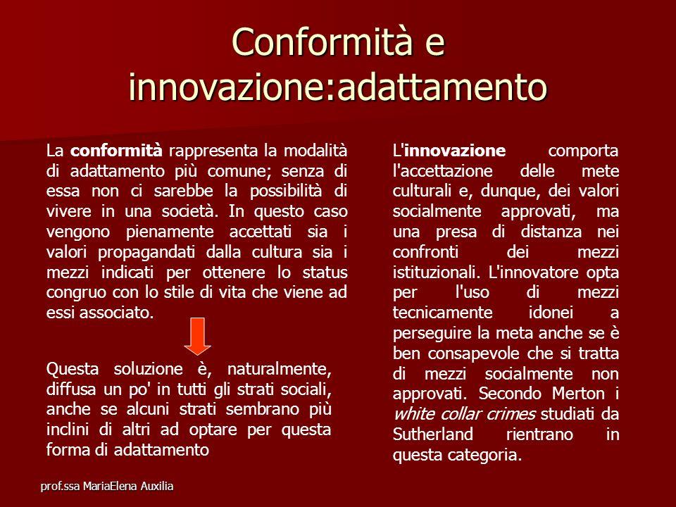 prof.ssa MariaElena Auxilia Conformità e innovazione:adattamento La conformità rappresenta la modalità di adattamento più comune; senza di essa non ci