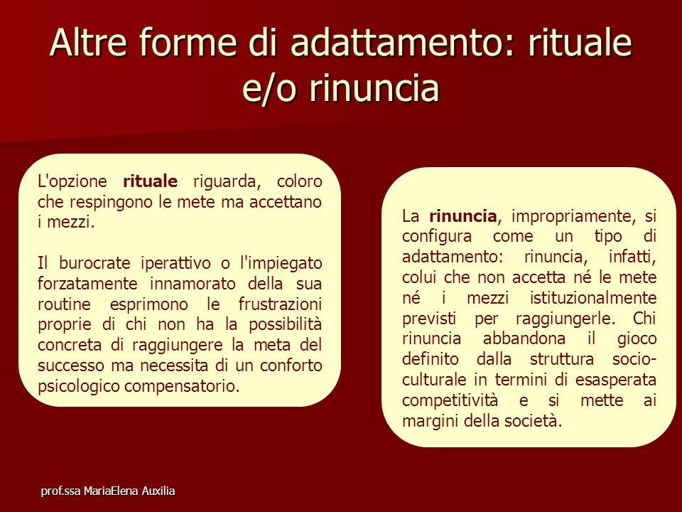 prof.ssa MariaElena Auxilia Altre forme di adattamento: rituale e/o rinuncia La rinuncia, impropriamente, si configura come un tipo di adattamento: ri