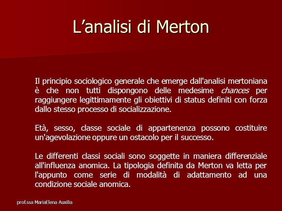 prof.ssa MariaElena Auxilia Lanalisi di Merton Il principio sociologico generale che emerge dall'analisi mertoniana è che non tutti dispongono delle m