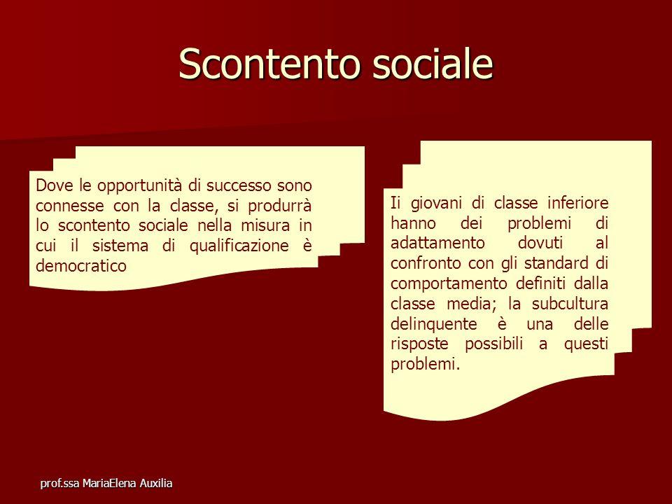 prof.ssa MariaElena Auxilia Scontento sociale Dove le opportunità di successo sono connesse con la classe, si produrrà lo scontento sociale nella misu
