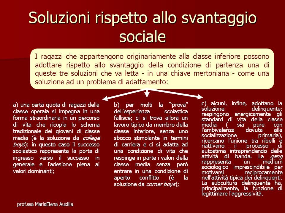 prof.ssa MariaElena Auxilia Soluzioni rispetto allo svantaggio sociale I ragazzi che appartengono originariamente alla classe inferiore possono adotta