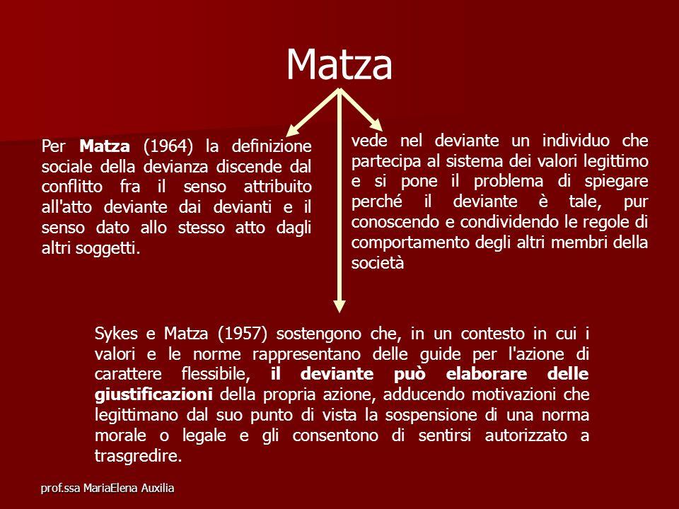 prof.ssa MariaElena Auxilia Matza Per Matza (1964) la definizione sociale della devianza discende dal conflitto fra il senso attribuito all'atto devia