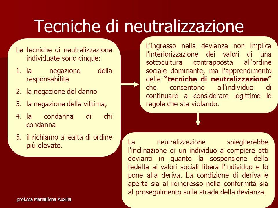 prof.ssa MariaElena Auxilia Tecniche di neutralizzazione L'ingresso nella devianza non implica l'interiorizzazione dei valori di una sottocultura cont