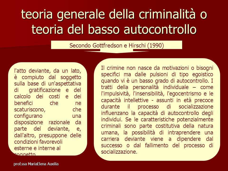 prof.ssa MariaElena Auxilia teoria generale della criminalità o teoria del basso autocontrollo Secondo Gottfredson e Hirschi (1990) Il crimine non nas