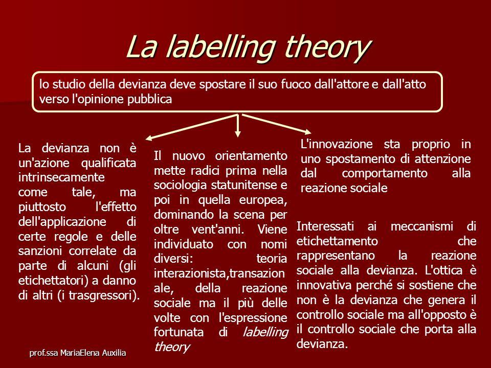 prof.ssa MariaElena Auxilia La labelling theory lo studio della devianza deve spostare il suo fuoco dall'attore e dall'atto verso l'opinione pubblica