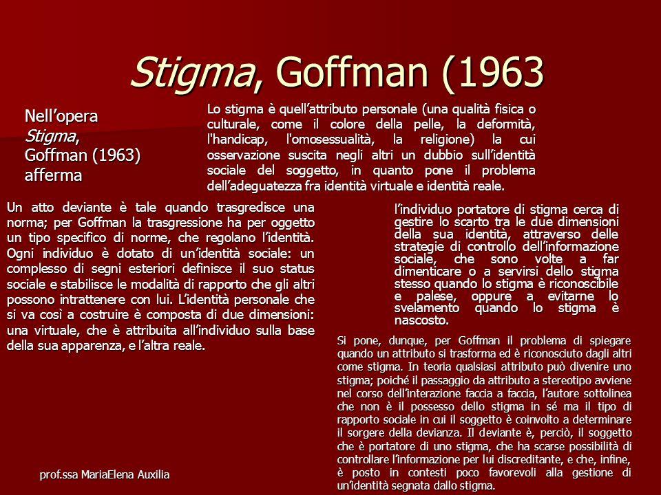 prof.ssa MariaElena Auxilia Stigma, Goffman (1963 Nellopera Stigma, Goffman (1963) afferma Un atto deviante è tale quando trasgredisce una norma; per