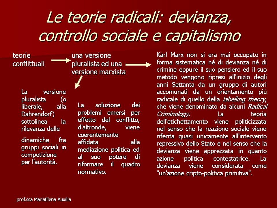 prof.ssa MariaElena Auxilia Le teorie radicali: devianza, controllo sociale e capitalismo teorie conflittuali una versione pluralista ed una versione