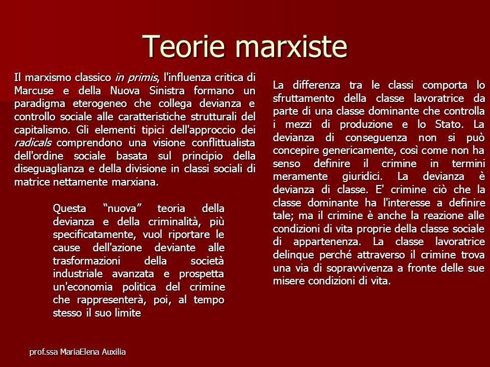prof.ssa MariaElena Auxilia Teorie marxiste Il marxismo classico in primis, l'influenza critica di Marcuse e della Nuova Sinistra formano un paradigma