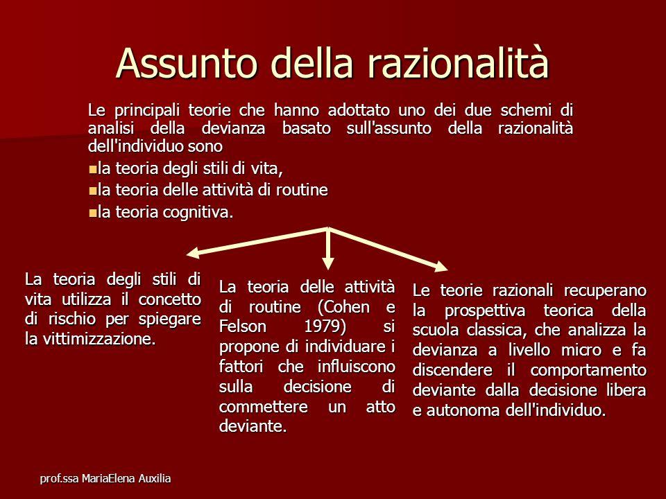 prof.ssa MariaElena Auxilia Assunto della razionalità Le principali teorie che hanno adottato uno dei due schemi di analisi della devianza basato sull