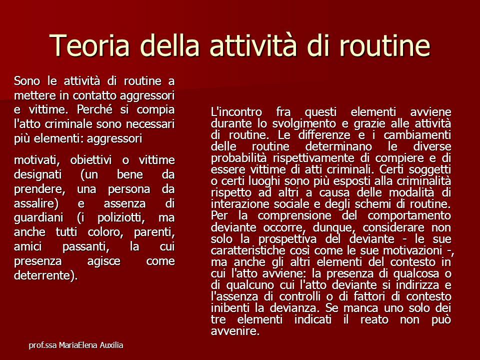 prof.ssa MariaElena Auxilia Teoria della attività di routine Sono le attività di routine a mettere in contatto aggressori e vittime. Perché si compia