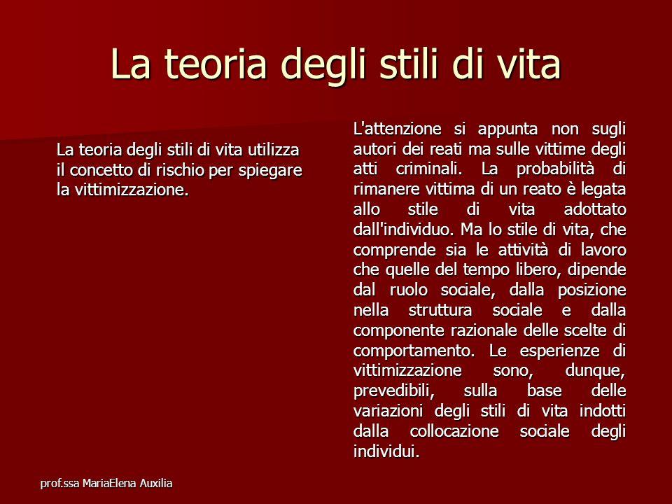 prof.ssa MariaElena Auxilia La teoria degli stili di vita La teoria degli stili di vita utilizza il concetto di rischio per spiegare la vittimizzazion