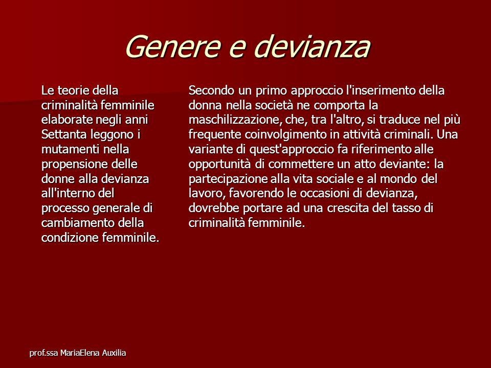 prof.ssa MariaElena Auxilia Genere e devianza Le teorie della criminalità femminile elaborate negli anni Settanta leggono i mutamenti nella propension
