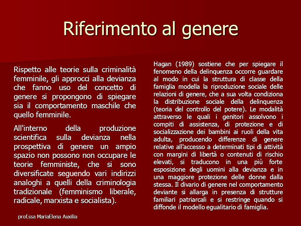 prof.ssa MariaElena Auxilia Riferimento al genere Rispetto alle teorie sulla criminalità femminile, gli approcci alla devianza che fanno uso del conce