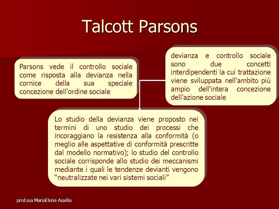 prof.ssa MariaElena Auxilia Talcott Parsons e il problema del comportamento deviante Secondo Parsons lo studio del controllo sociale corrisponde allo studio dei meccanismi mediante i quali le tendenze devianti vengono neutralizzate nei vari sistemi sociali.