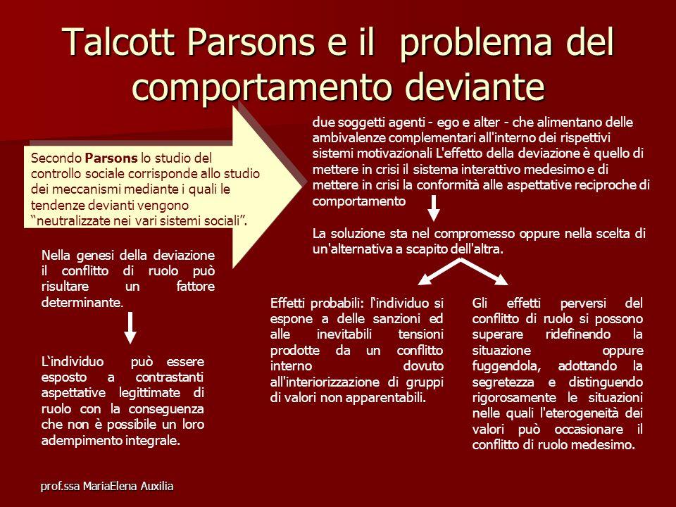 prof.ssa MariaElena Auxilia Talcott Parsons e il problema del comportamento deviante Secondo Parsons lo studio del controllo sociale corrisponde allo