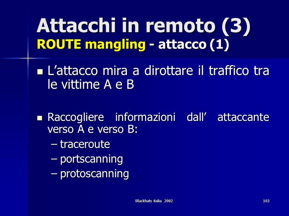 Blackhats italia 2002103 Attacchi in remoto (3) ROUTE mangling - attacco (1) Lattacco mira a dirottare il traffico tra le vittime A e B Lattacco mira