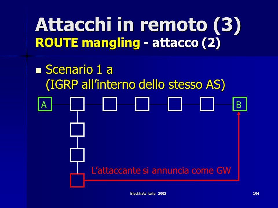 Blackhats italia 2002104 Attacchi in remoto (3) ROUTE mangling - attacco (2) Scenario 1 a (IGRP allinterno dello stesso AS) Scenario 1 a (IGRP allinte