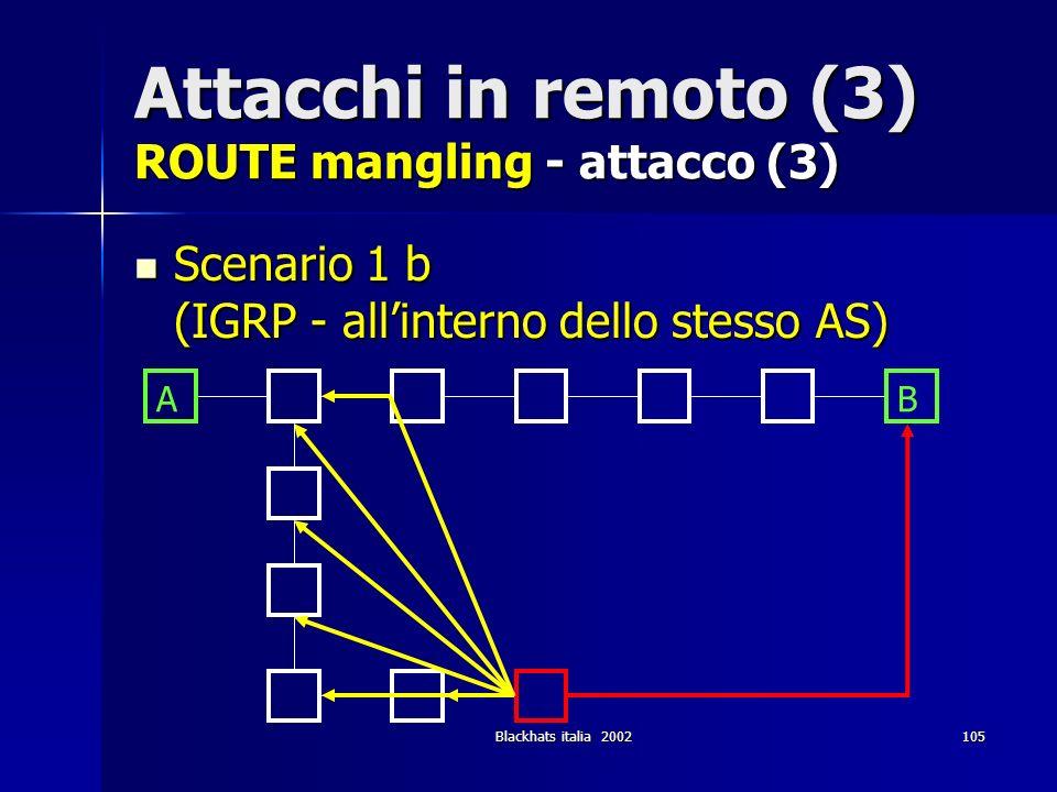 Blackhats italia 2002105 Attacchi in remoto (3) ROUTE mangling - attacco (3) Scenario 1 b (IGRP - allinterno dello stesso AS) Scenario 1 b (IGRP - all