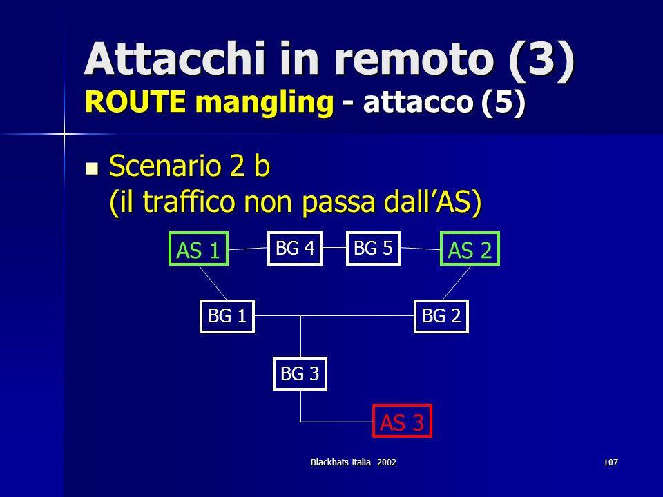 Blackhats italia 2002107 Attacchi in remoto (3) ROUTE mangling - attacco (5) Scenario 2 b (il traffico non passa dallAS) Scenario 2 b (il traffico non